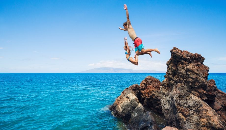 cliff jumping with friends